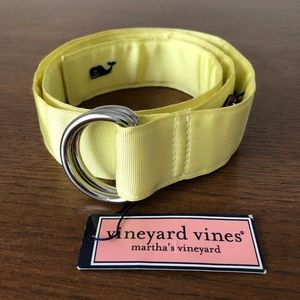 Vineyard Vines Grosgrain D-ring Belt Lemon Drop